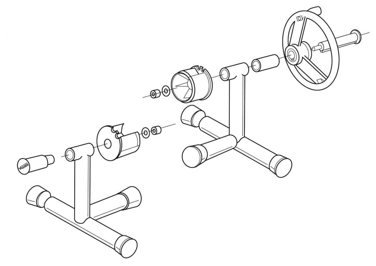 Nerez stojny navíjecího zařízení - přenosné (pár), T-základny