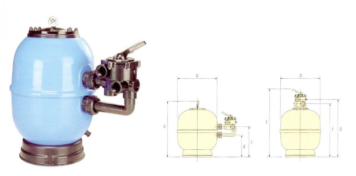 Filtrační nádoba Lisboa 650 mm, průtok 15 m3/h, boční ventil