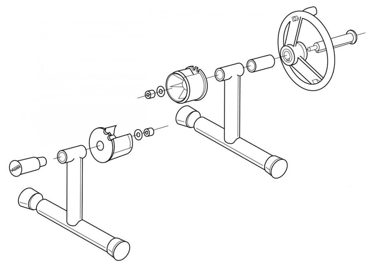 Nerez stojny navíjecího zařízení - přenosné (pár)