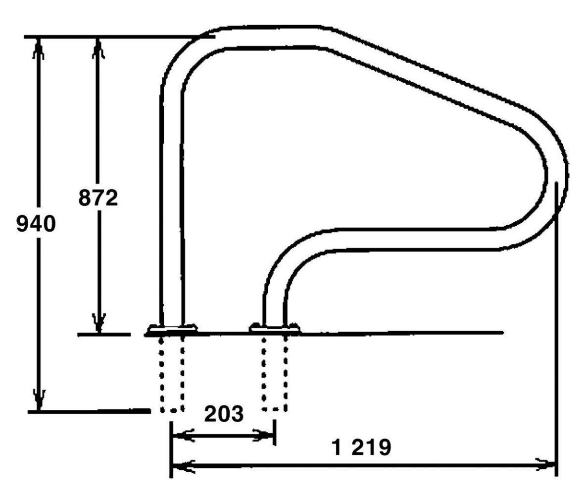 Žebříkové madlo 1220mm s pouzdrem a rozetou AISI 316
