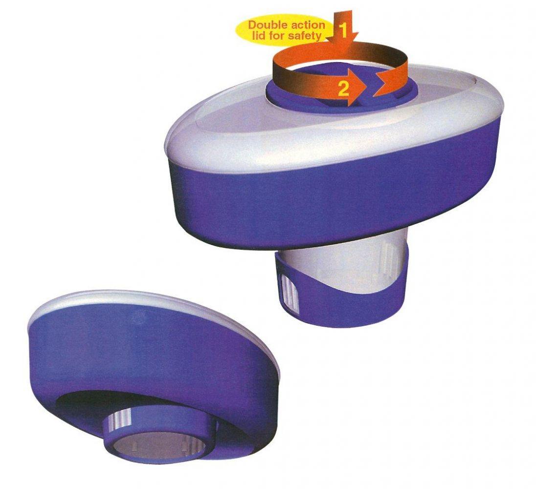 Plovoucí dávkovač s regulací množství chemikálie – oválný