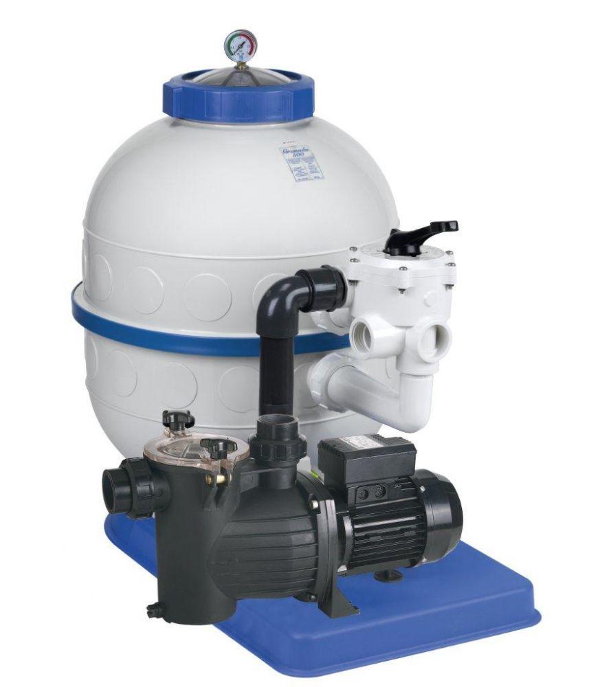 Filtrační zařízení - Granada KIT 600, 12 m3/h, 230V, 6-ti cest. boč. ventil, čerp. Preva 75