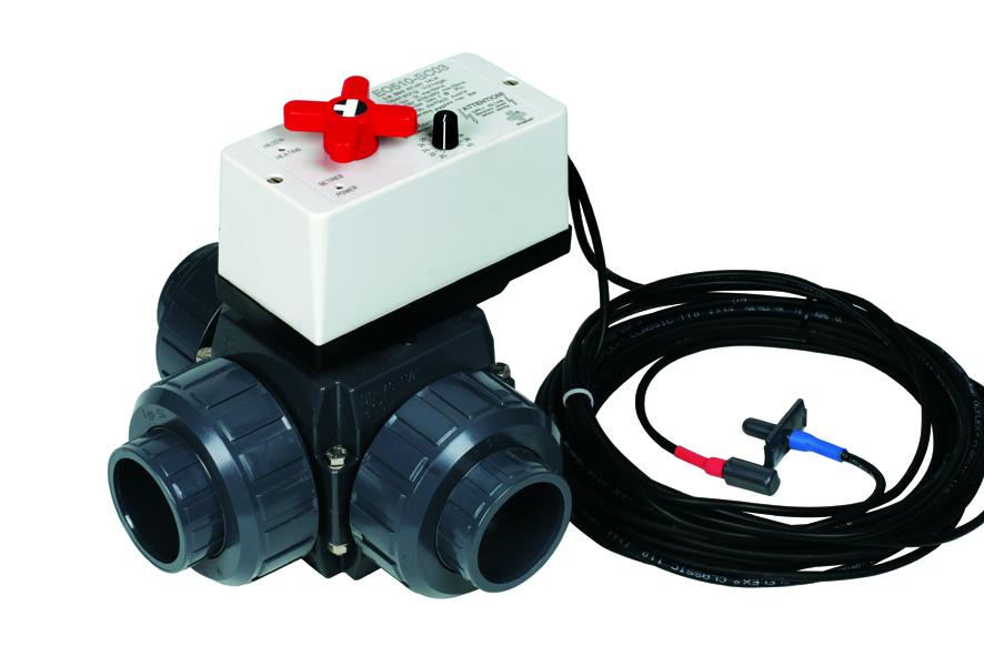 Kulový el. třícestný ventil 50 mm, 230 V, Praher – pro solární systémy