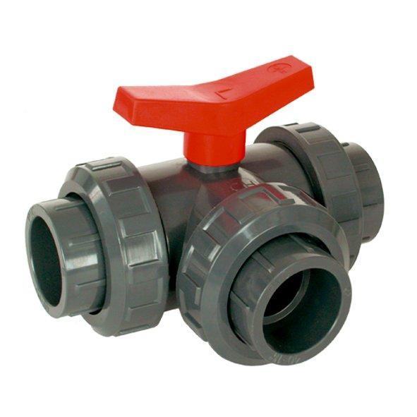 PVC Kulový třícestný ventil 50 mm L