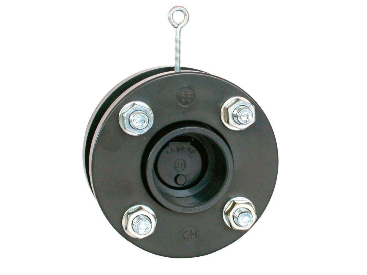 Zpětná klapka s přírubami a s manžetami 125 mm