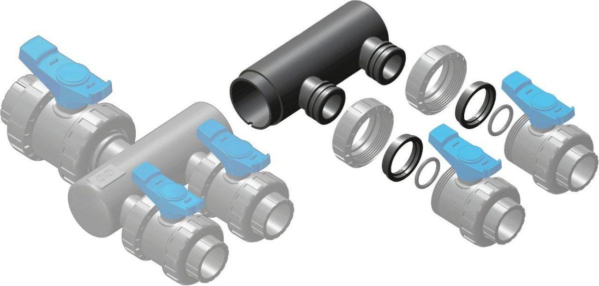 Sběrací potrubí - nástavec sběrače – 2x přímé napojení ventilu 50 mm