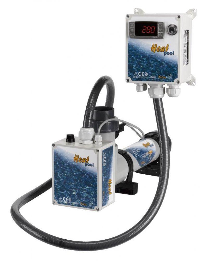 Topení - Heat Pool 12kW, 230/400V, Titan, el.průt.spínač,dig.termostat