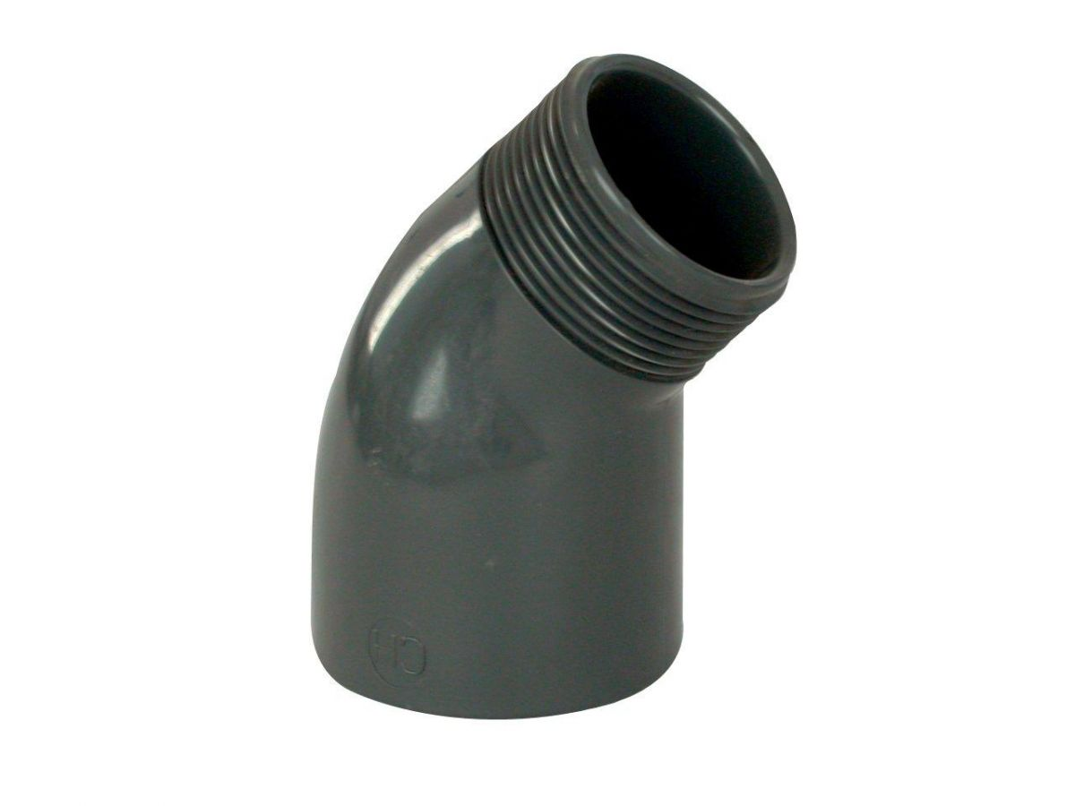 """PVC tvarovka - Úhel 45° 63 x 2"""" ext."""